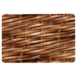 Rugged Wicker Basket Look Floor Mat