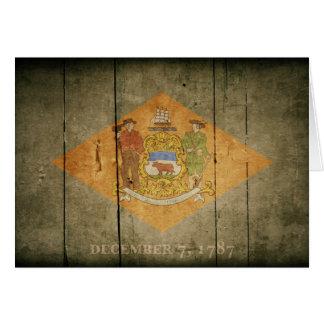 Rugged Wood Delaware Flag Cards