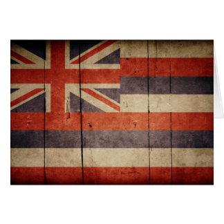 Rugged Wood Hawaii Flag Note Card