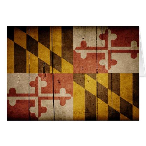 Rugged Wood Maryland Flag Cards