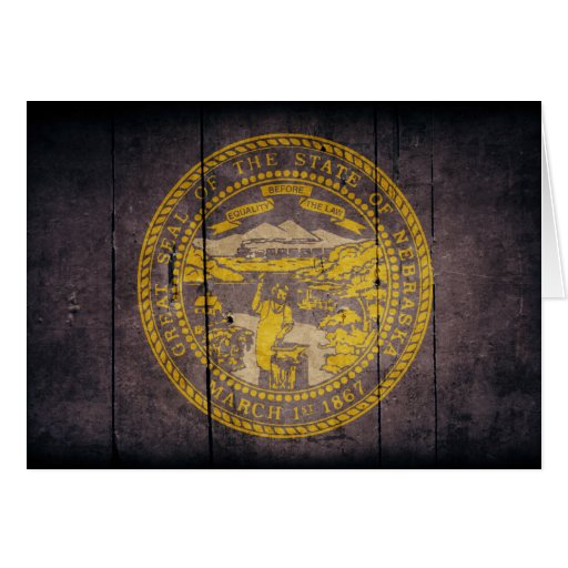 Rugged Wood Nebraska Flag Cards