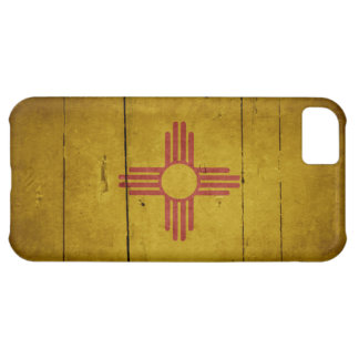 Rugged Wood New Mexico Flag iPhone 5C Cases