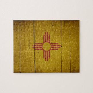 Rugged Wood New Mexico Flag Puzzle