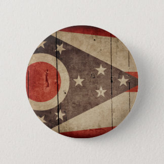 Rugged Wood Ohio Flag 6 Cm Round Badge
