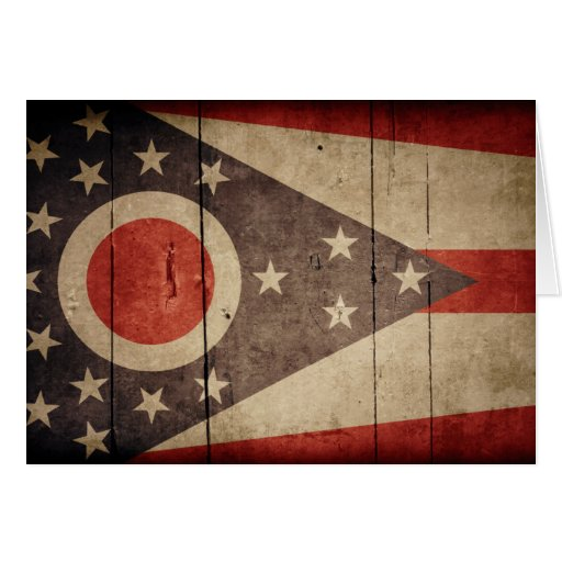 Rugged Wood Ohio Flag Cards