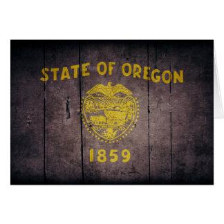 Rugged Wood Oregon Flag Card