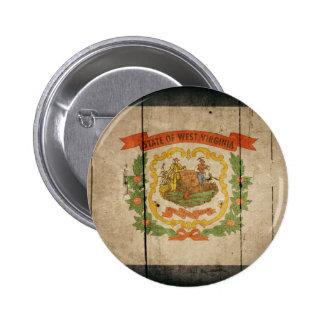 Rugged Wood West Virginia Flag Pin