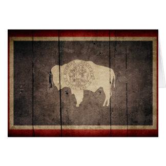Rugged Wood Wyoming Flag Card