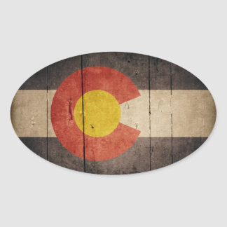 Rugged Wooden Colorado Flag Oval Sticker