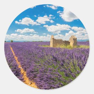 Ruin in Lavender Field, France Classic Round Sticker