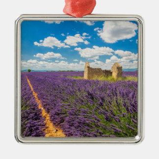 Ruin in Lavender Field, France Metal Ornament