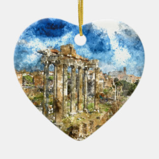 Ruins in Rome Ceramic Heart Decoration