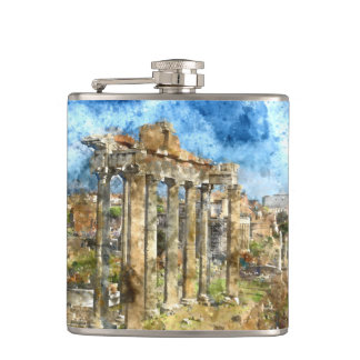 Ruins in Rome Hip Flask