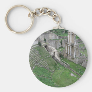 Ruins of a antique roman amphitheater basic round button key ring