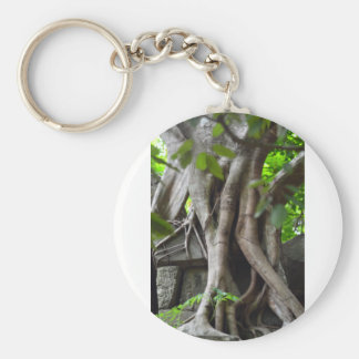 Ruins of a temple lost in a lush jungle key ring