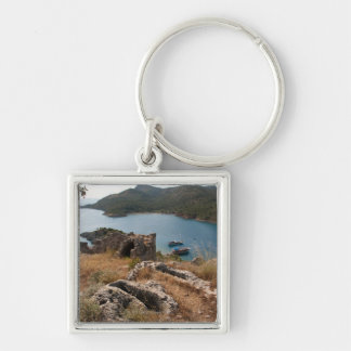 Ruins of ancient burial site on small island keychain
