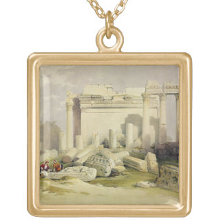 Ruins of the Eastern Portico of the Temple of Baal Square Pendant Necklace