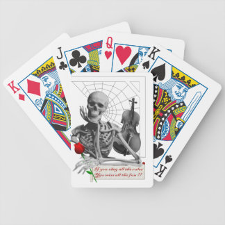 Rule Breaking Skeleton with Rose and Violin. Poker Cards