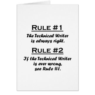 Rule Technical Writer Note Card