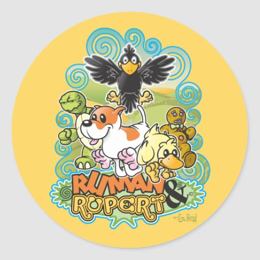 Ruman and Rupert Crest Round Stickers