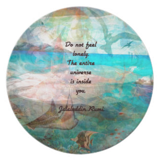 Rumi Inspiration Quote About The Universe Plate