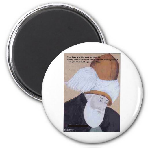 """Rumi """"Obstacles Of Love"""" Quote On Gifts Tees Cards Magnet"""