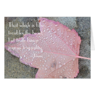 Rumi Quote Autumn Leaf Card
