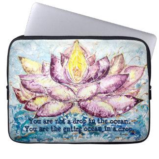 Rumi Quote Lotus Watercolor Art Laptop Sleeve