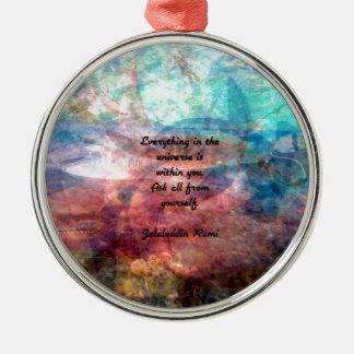 Rumi Uplifting Quote About Energy And Universe Silver-Colored Round Decoration