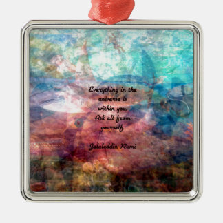 Rumi Uplifting Quote About Energy And Universe Silver-Colored Square Decoration