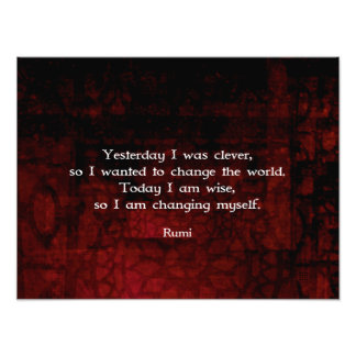 Rumi Wisdom Quote About Change & Cleverness Art Photo