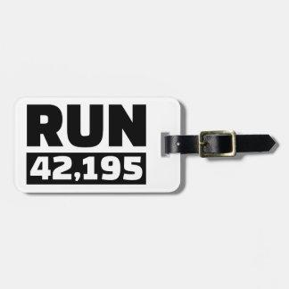 Run 42 kilometers marathon luggage tag