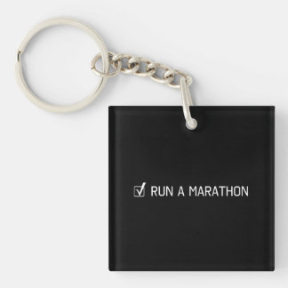 Run A Marathon Double-Sided Square Acrylic Key Ring