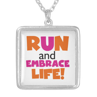 Run and Embrace Life Orange Pink Square Pendant Necklace