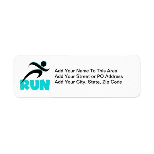 RUN Aqua Return Address Label