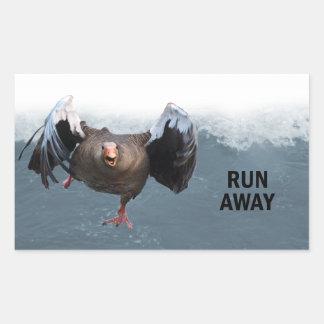 Run away rectangular sticker