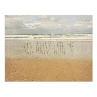 Run Away With Me Sand Sea Beach Wave Vintage Paper Postcard