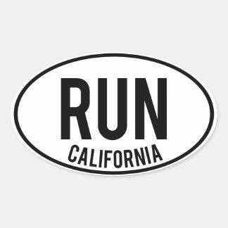 RUN california Oval Sticker
