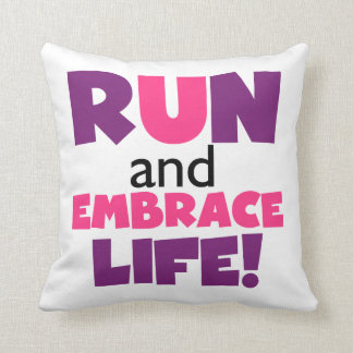 Run Embrace Life Purple Pink Throw Pillow