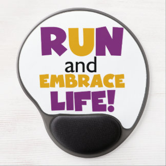 Run Embrace Life Purple Yellow Gel Mouse Pad