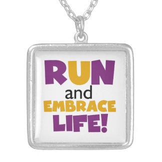 Run Embrace Life Purple Yellow Square Pendant Necklace