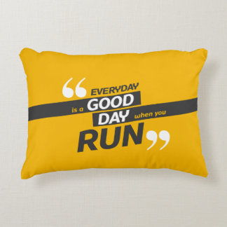 Run Everyday Quote Brushed Polyester Accent Pillow