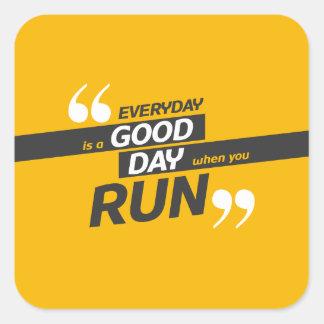 Run Everyday Square Stickers, Glossy Square Sticker