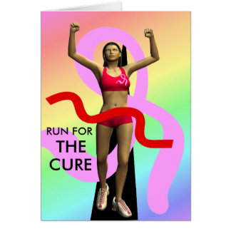 Run For The Cure Breast Cancer Awareness Greeting Greeting Card