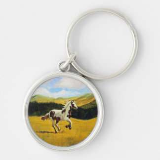 Run Free Silver-Colored Round Key Ring
