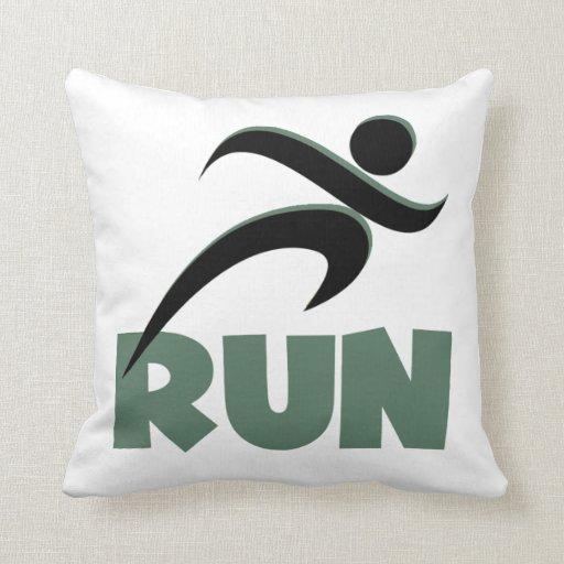 RUN Green Throw Pillows