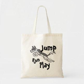 Run Jump Play Border Collie Budget Tote Bag