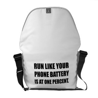 Run Like Phone Battery One Percent Courier Bag