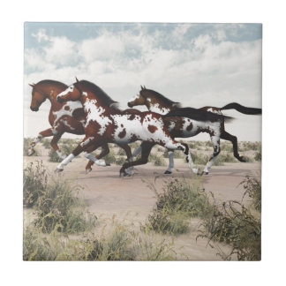 Run Like the Wind - Galloping Paint Horses Ceramic Tile