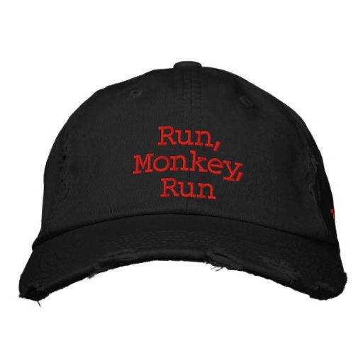 Run, Monkey Hat Embroidered Baseball Cap